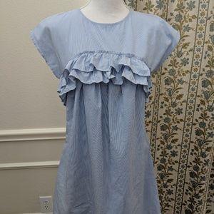 Benetton Dress M Blue Stripped Cotton Sheath Ruffl